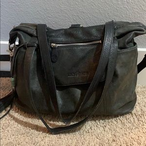Lily Jade black leather diaper bag